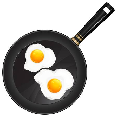 skillet: Fried eggs on pan with handle, food ingredients, vector illustration