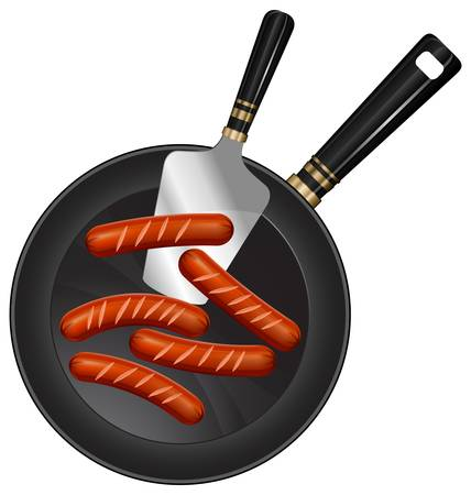skillet: Fried sausages and paddle on pan with handle, food ingredients, vector illustration