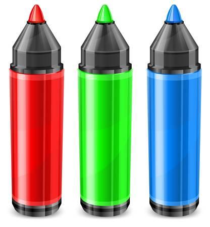 Vier Farb-Marker, Filzstift in RGB auf weiß, Vektor-Illustration