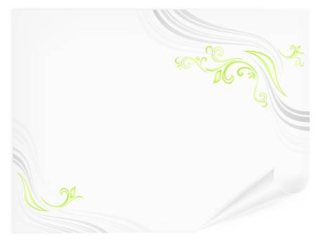 beautify: Sheet of paper with floral green lines, isolated on white background, vector illustration  Illustration