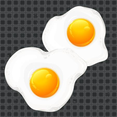 preparing: Fried eggs on pan, food ingredients