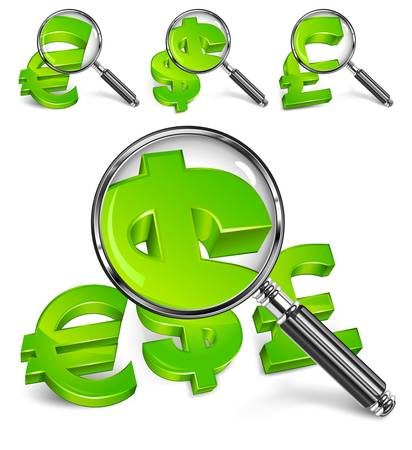 zooming: Magnifying glass for zooming green money symbol