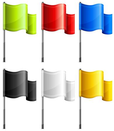 Set of color rectangular flags on metal flagpole