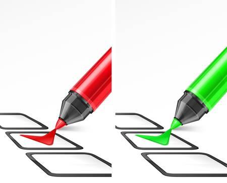 punta: Verde e rosso pennarello con il segno di spunta e box su bianco
