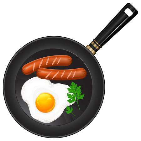 Fried eggs and sausage on pan, food ingredients, vector illustration Stock Vector - 13529423