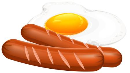 Fried eggs and sausage on white, food ingredients, vector illustration 向量圖像