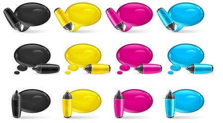 correspond: Set of round four color speech bubbles end felt tip pens on white, vector illustration