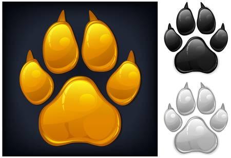 paw print: Amarillo animal huella de la pata aislados en negro, ilustraci�n vectorial Vectores
