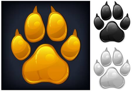 Yellow animal paw print isolated on black, vector illustration