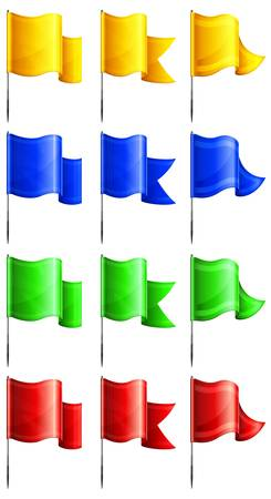 флагшток: Набор цветов прямоугольных флагов на металлической флагшток, векторные иллюстрации Иллюстрация
