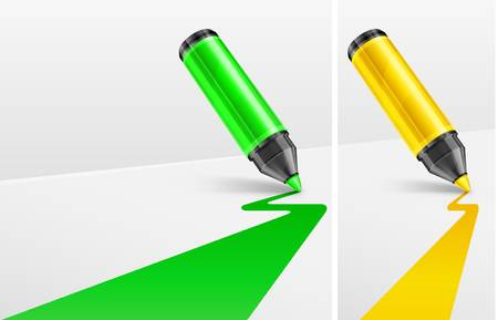 felt tip: Green and yellow markers, felt tip pen with line on white, vector illustration