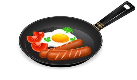 omelet: Fried eggs, sausage and tomato on pan, food ingredients,  illustration