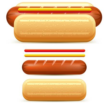 mustard: Hotdog stylized with  ketchup and mustard isolated on white  illustration