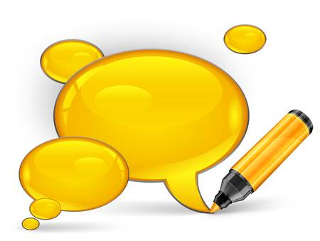 correspond: Yellow speech bubbles end felt tip pens on white, illustration