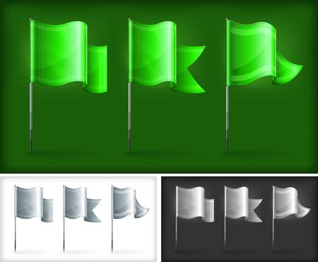 flagpole: Set of green rectangular flags on metal flagpole, vector illustration