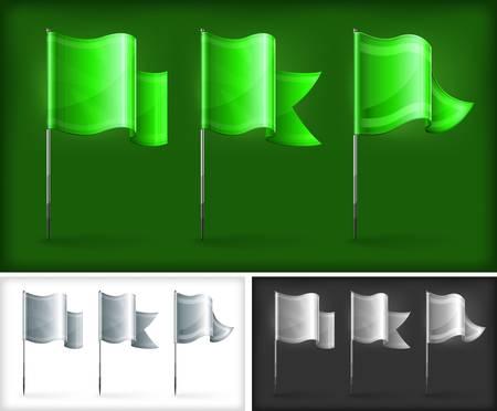 flagpole: Set of green rectangular flags on metal flagpole, vector illustration