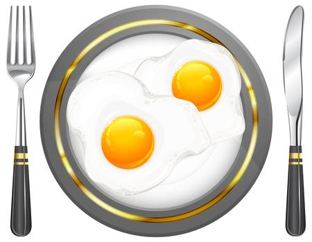omelet: Fried eggs on plate, food ingredients, vector illustration