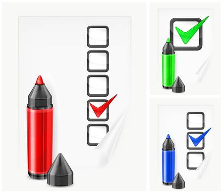 felt tip: Color felt tip pens with check mark and box on paper sheet, vector illustration