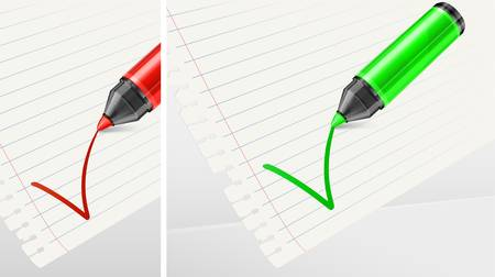 Green and red felt tip pen with check mark on white paper,  Vector