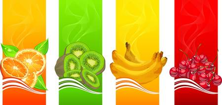 orange juice: Banners with orange, banana, kiwi and cherries on color background,