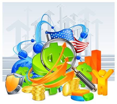 economic growth: business development concept on arrows background Illustration