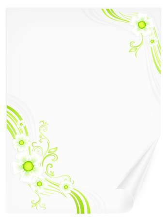 beautify: Sheet of paper with green lines and flowers, isolated on white background Illustration