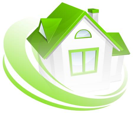 home protection: Model of house with green circle, environment concept, vector illustration Illustration