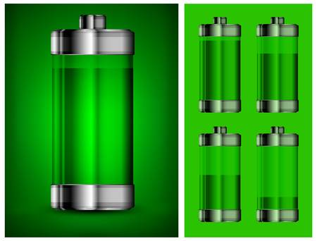 polarity: Battery in green color, energy concept, vector illustration