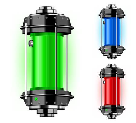 cylinder: Container of alternative energy in different color, vector illustration