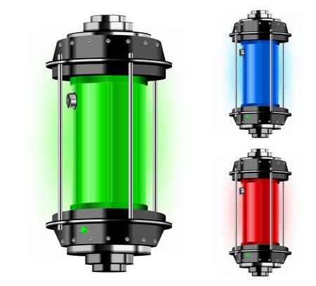 cilindro: Contenedor de energía alternativa en diferente color, ilustración vectorial Vectores