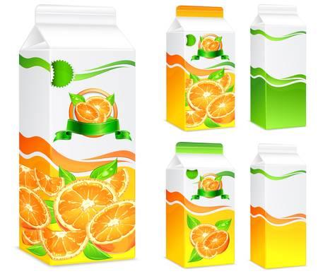 jugo de frutas: Envases para zumos, papel de embalaje de naranjas y hojas, ilustración vectorial