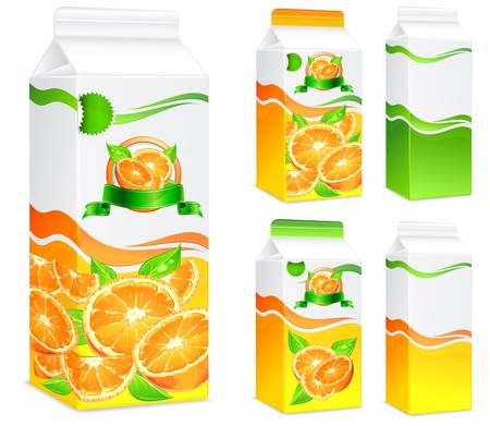 Packages for juice, paper packing with oranges and leaves, vector illustration  Illustration