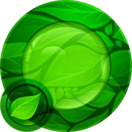 web2: Glossy green round button on white background, vector illustration