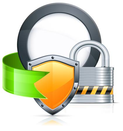 padlock icon: Metal padlock, shield, ribbon and round on white, vector illustration