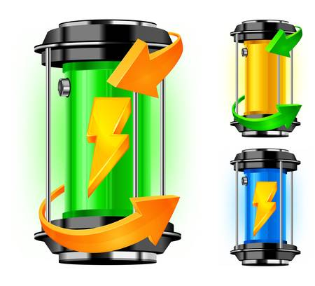 Cylinder of alternative energy in green color and arrows Stock Vector - 14212323