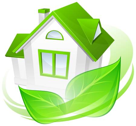 immovable: Ecology protection, model of house with green circle, environment concept Illustration