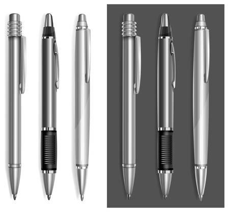 ballpoint: Gray ball pens isolated on white background, vector illustration  Illustration