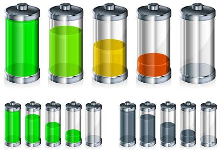 battery icon: Battery with level indicator in color, energy concept Illustration