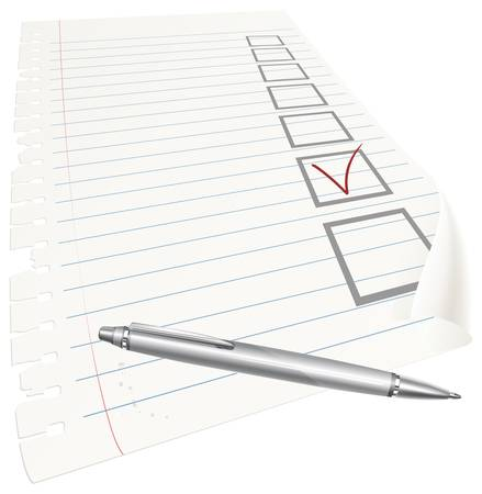 mark pen: Pen with red check mark and box on white sheet