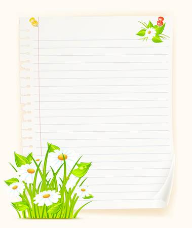 beautify: Sheet of paper with bouquet  of flowers, isolated on color background