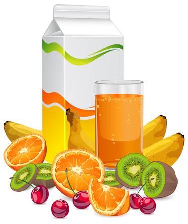 useful: Juice package end set of fruits, bananas, oranges, kiwi, cherries Illustration