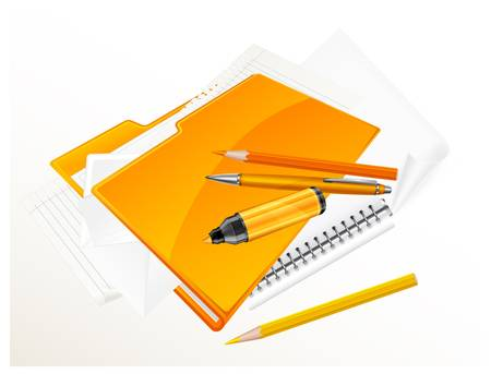 Folder and stationery on white background Vector