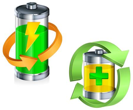 polarity: Energy battery with circle arrow on white, recycling concept