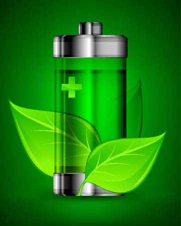 energy conservation: Energy battery with green leaves, ecology concept
