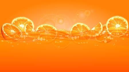 Orange fruits slices in juice on yellow background