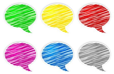 correspond: Set of round scribbled colorful speech bubbles on white Illustration