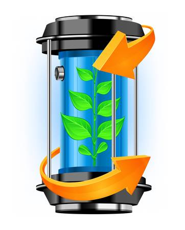 Container of alternative energy with green plant and arrows, vector illustration Stock Vector - 14829353