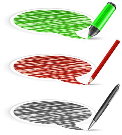 correspond: Set of round three color speech bubbles end pencil on white, vector illustration