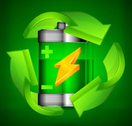 charge: Energy battery with circle arrow on green, recycling concept, vector illustration Illustration