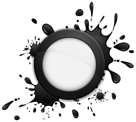 inkblots: Round speech bubble icon with inkblots, vector illustration